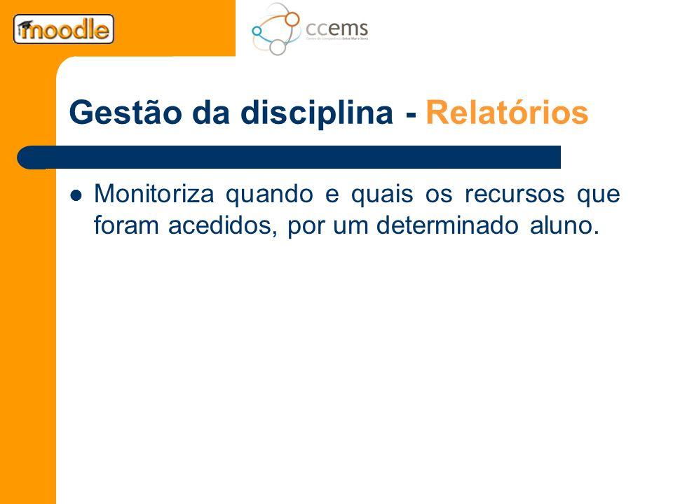 Gestão da disciplina - Relatórios Monitoriza quando e quais os recursos que foram acedidos, por um determinado aluno.