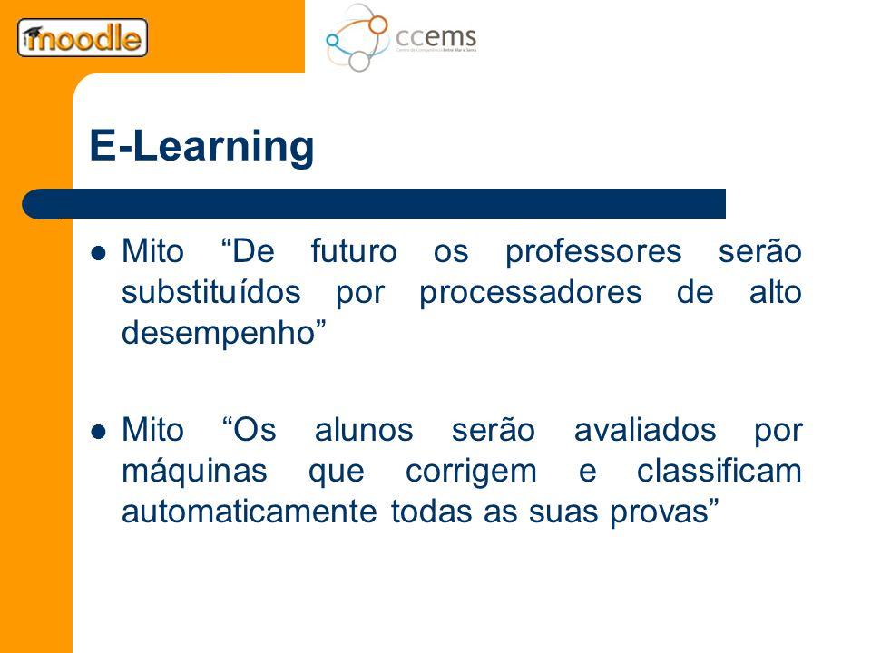 E-Learning Mito De futuro os professores serão substituídos por processadores de alto desempenho Mito Os alunos serão avaliados por máquinas que corri