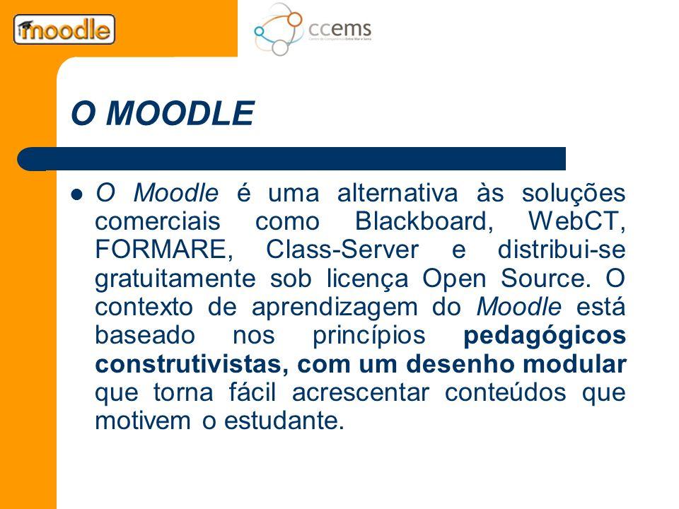 O MOODLE O Moodle é uma alternativa às soluções comerciais como Blackboard, WebCT, FORMARE, Class-Server e distribui-se gratuitamente sob licença Open
