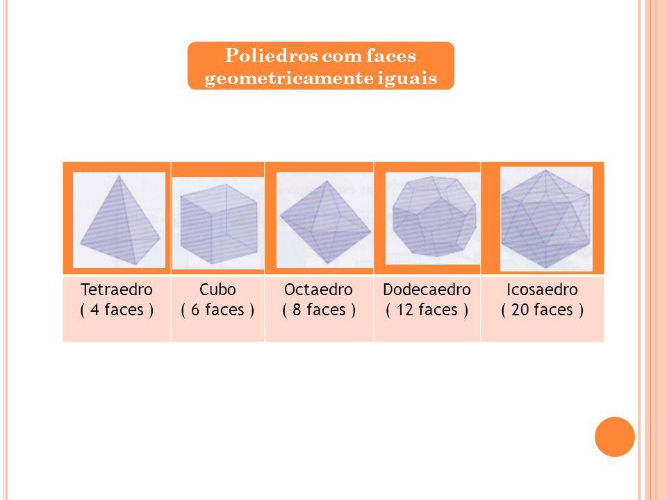 Tetraedro ( 4 faces ) Cubo ( 6 faces ) Octaedro ( 8 faces ) Dodecaedro ( 12 faces ) Icosaedro ( 20 faces ) Poliedros com faces geometricamente iguais