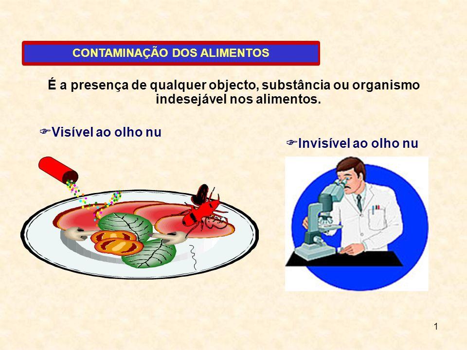 1 CONTAMINAÇÃO DOS ALIMENTOS É a presença de qualquer objecto, substância ou organismo indesejável nos alimentos. Visível ao olho nu Invisível ao olho