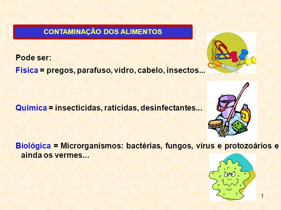 1 CONTAMINAÇÃO DOS ALIMENTOS Pode ser: Física = pregos, parafuso, vidro, cabelo, insectos... Química = insecticidas, raticidas, desinfectantes... Biol
