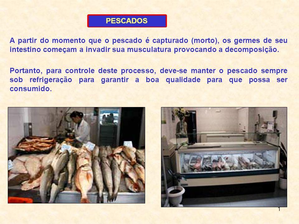 1 PESCADOS A partir do momento que o pescado é capturado (morto), os germes de seu intestino começam a invadir sua musculatura provocando a decomposiç