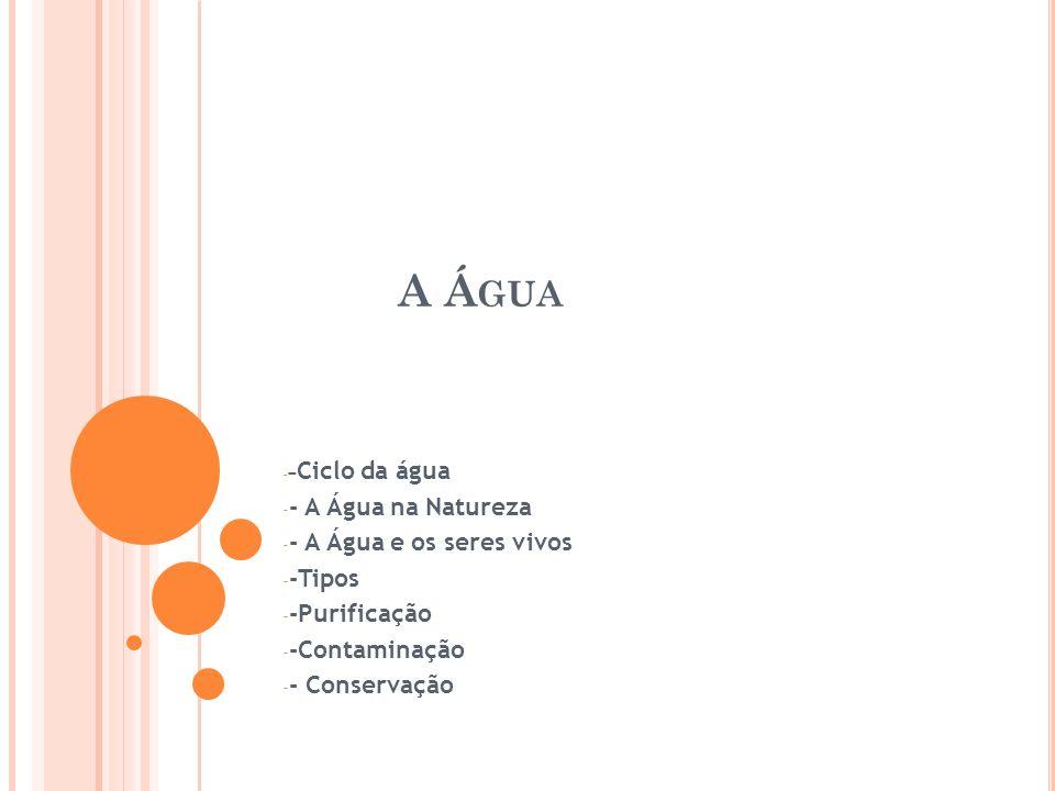 A Á GUA - - Ciclo da água - - A Água na Natureza - - A Água e os seres vivos - -Tipos - -Purificação - -Contaminação - - Conservação