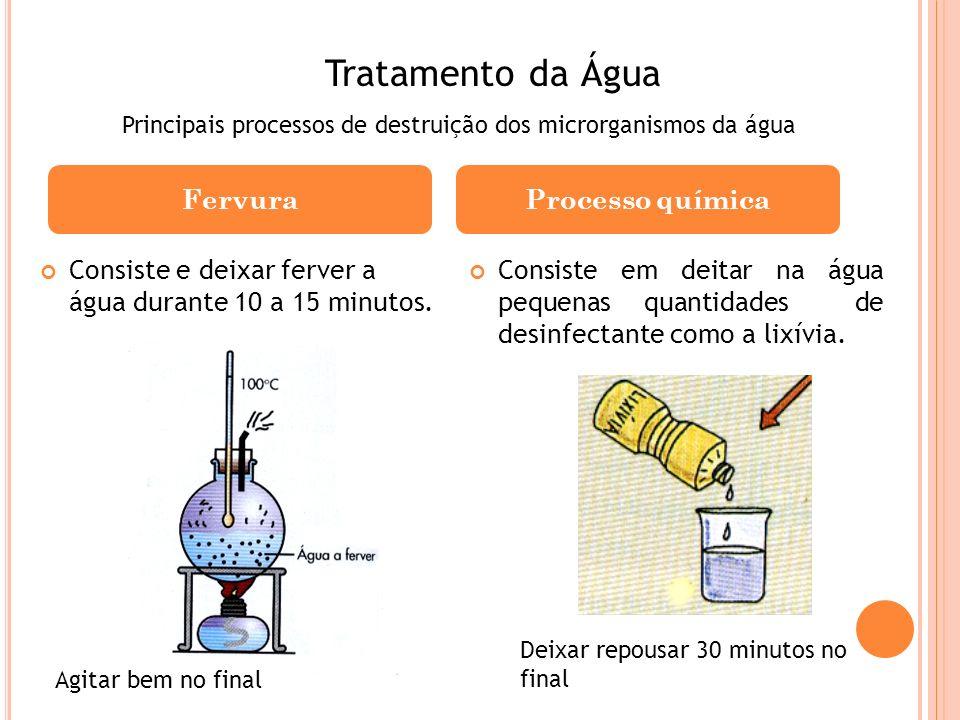 Consiste e deixar ferver a água durante 10 a 15 minutos. Consiste em deitar na água pequenas quantidades de desinfectante como a lixívia. FervuraProce