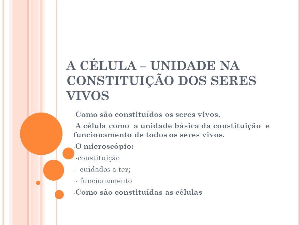 A CÉLULA – UNIDADE NA CONSTITUIÇÃO DOS SERES VIVOS - Como são constituídos os seres vivos. - A célula como a unidade básica da constituição e funciona