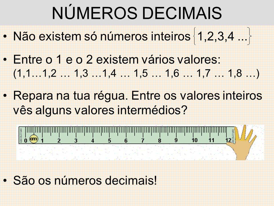 NÚMEROS DECIMAIS Não existem só números inteiros 1,2,3,4... Entre o 1 e o 2 existem vários valores: (1,1…1,2 … 1,3 …1,4 … 1,5 … 1,6 … 1,7 … 1,8 …) Rep