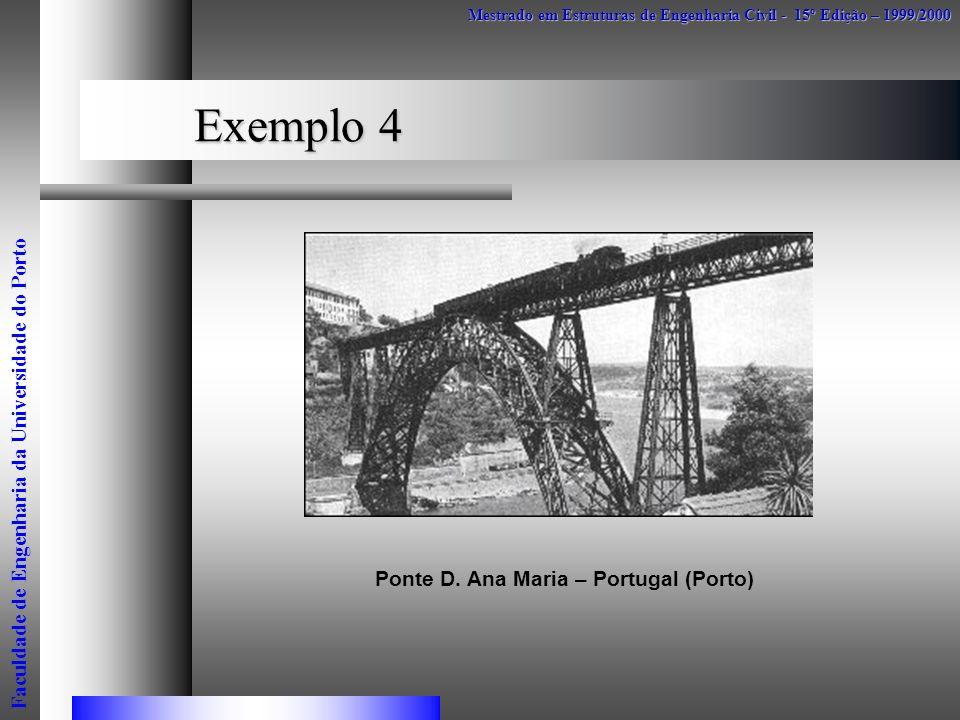 Exemplo 4 Mestrado em Estruturas de Engenharia Civil - 15º Edição – 1999/2000 Faculdade de Engenharia da Universidade do Porto Ponte D. Ana Maria – Po