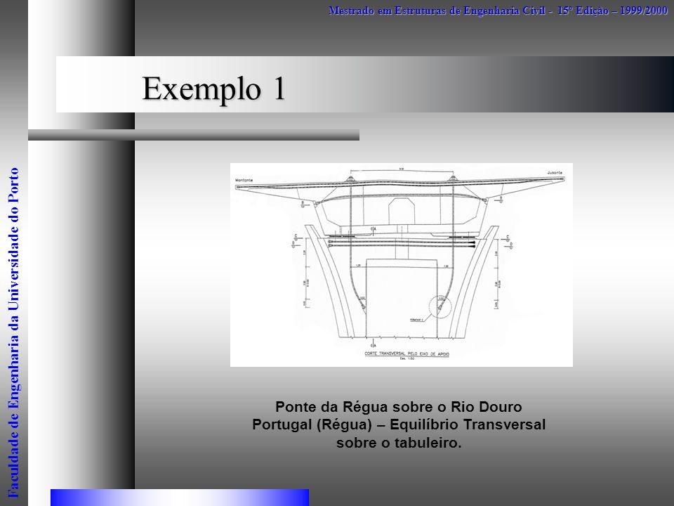 Exemplo 1 Mestrado em Estruturas de Engenharia Civil - 15º Edição – 1999/2000 Faculdade de Engenharia da Universidade do Porto Ponte da Régua sobre o
