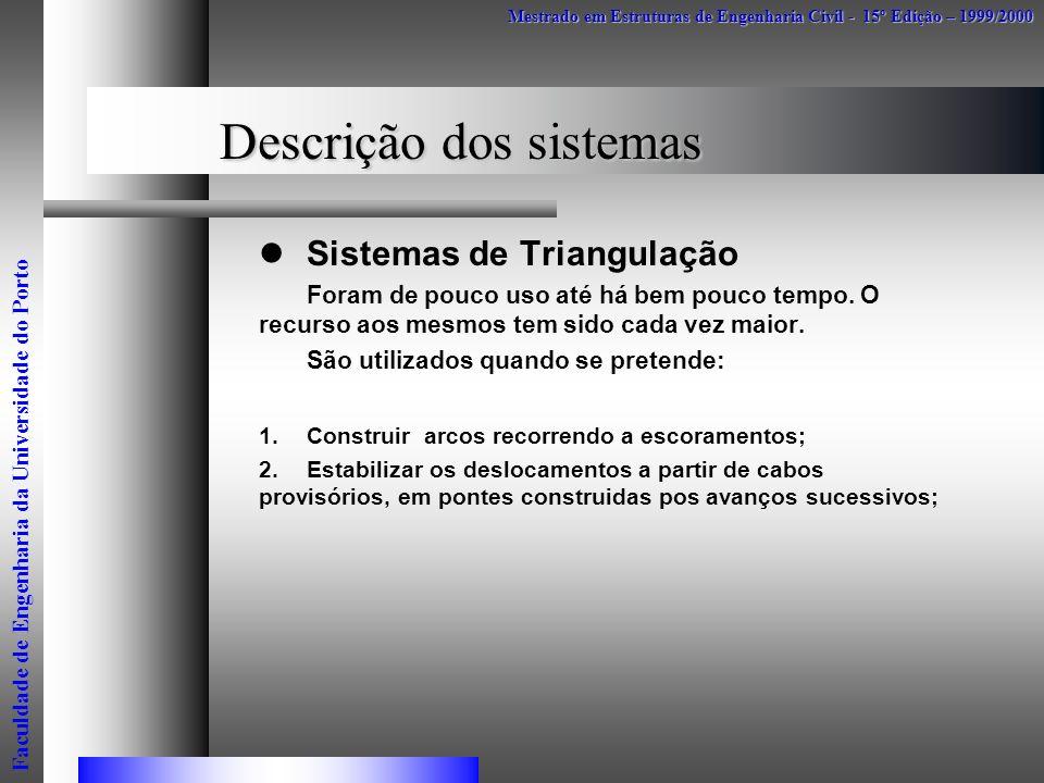 Descrição dos sistemas Sistemas de Triangulação Foram de pouco uso até há bem pouco tempo. O recurso aos mesmos tem sido cada vez maior. São utilizado
