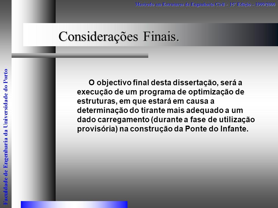Considerações Finais. O objectivo final desta dissertação, será a execução de um programa de optimização de estruturas, em que estará em causa a deter