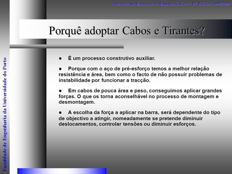 Porquê adoptar Cabos e Tirantes? É um processo construtivo auxiliar. Porque com o aço de pré-esforço temos a melhor relação resistência e área, bem co
