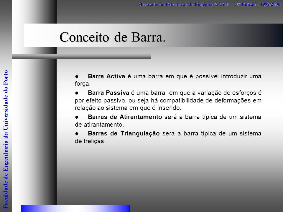 Conceito de Barra. Barra Activa é uma barra em que é possível introduzir uma força. Barra Passiva é uma barra em que a variação de esforços é por efei