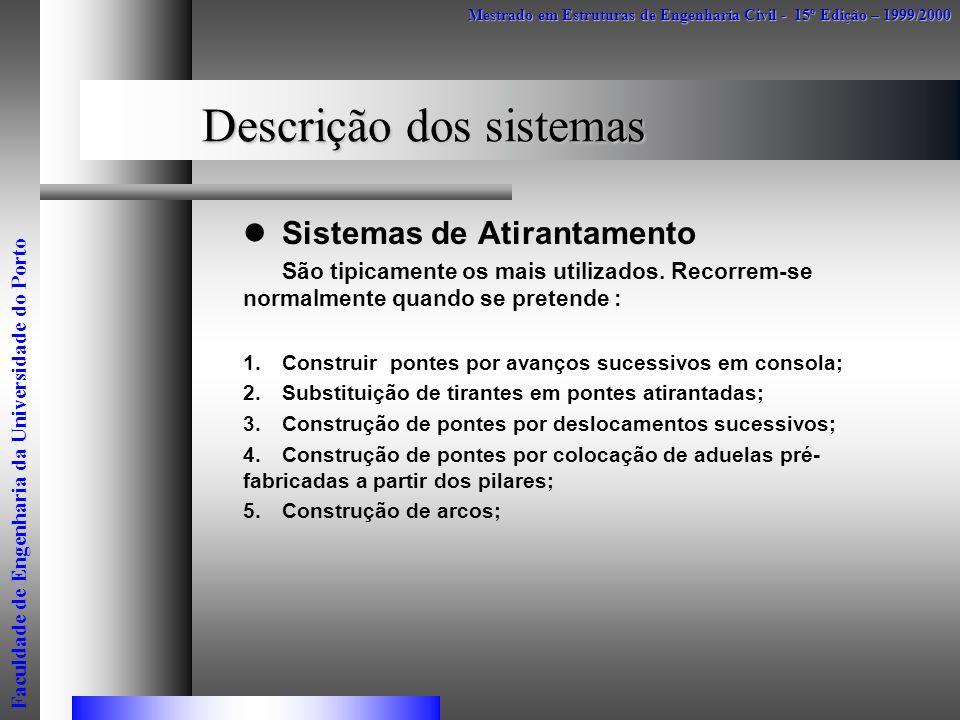 Descrição dos sistemas Sistemas de Atirantamento São tipicamente os mais utilizados. Recorrem-se normalmente quando se pretende : 1.Construir pontes p