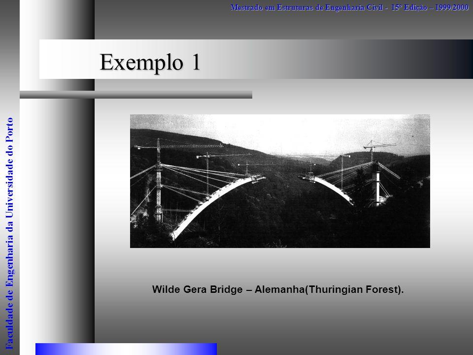 Exemplo 1 Mestrado em Estruturas de Engenharia Civil - 15º Edição – 1999/2000 Faculdade de Engenharia da Universidade do Porto Wilde Gera Bridge – Ale