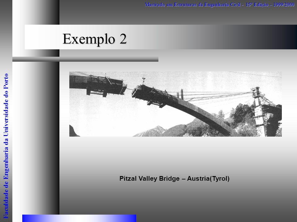 Exemplo 2 Mestrado em Estruturas de Engenharia Civil - 15º Edição – 1999/2000 Faculdade de Engenharia da Universidade do Porto Pitzal Valley Bridge –