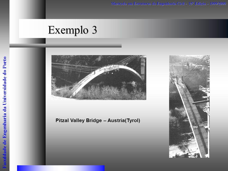 Exemplo 3 Mestrado em Estruturas de Engenharia Civil - 15º Edição – 1999/2000 Faculdade de Engenharia da Universidade do Porto Pitzal Valley Bridge –