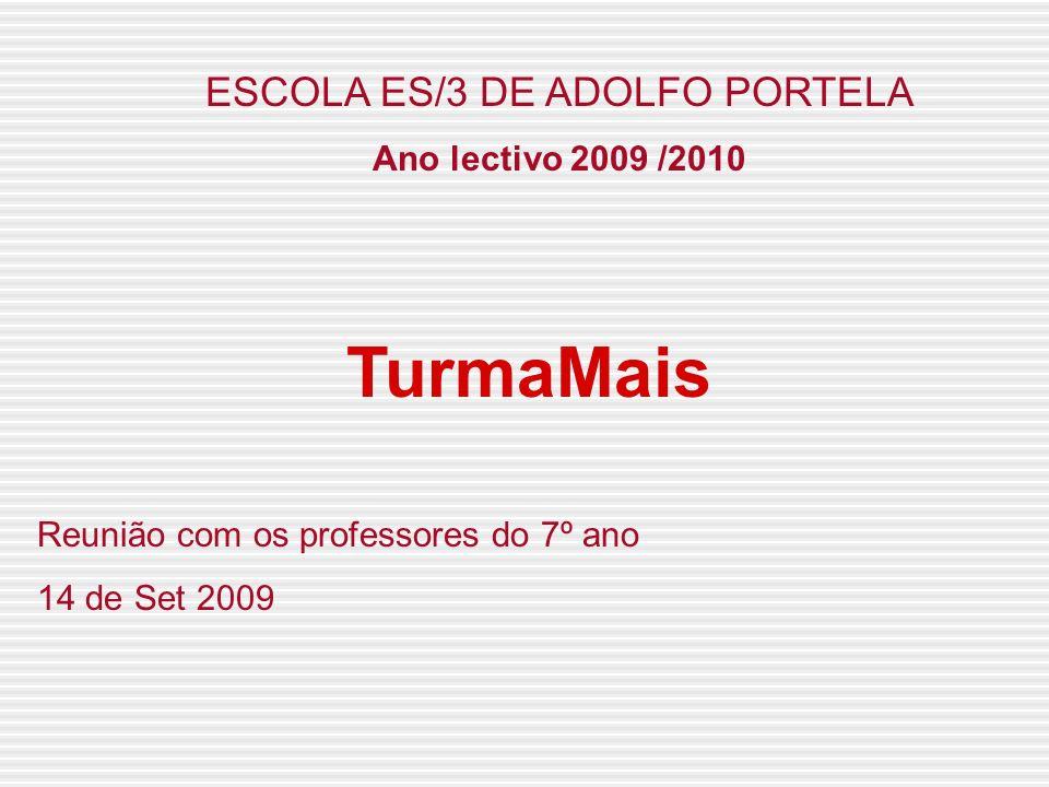 ESCOLA ES/3 DE ADOLFO PORTELA Ano lectivo 2009 /2010 TurmaMais Reunião com os professores do 7º ano 14 de Set 2009
