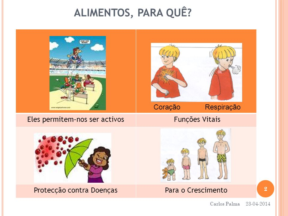 ALIMENTOS, PARA QUÊ? Eles permitem-nos ser activos Funções Vitais Protecção contra DoençasPara o Crescimento Coração Respiração 23-04-2014 2 Carlos Pa