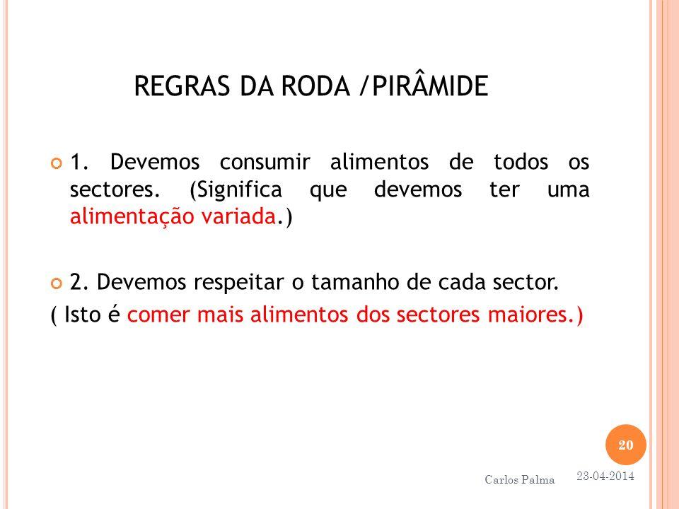 REGRAS DA RODA /PIRÂMIDE 1. Devemos consumir alimentos de todos os sectores. (Significa que devemos ter uma alimentação variada.) 2. Devemos respeitar