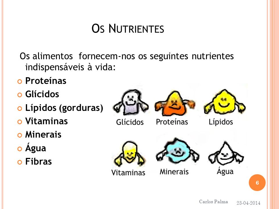 O S N UTRIENTES Os alimentos fornecem-nos os seguintes nutrientes indispensáveis à vida: Proteínas Glícidos Lípidos (gorduras) Vitaminas Minerais Água Fibras 23-04-2014 6 Carlos Palma