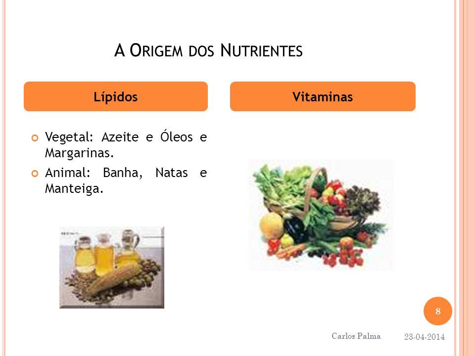 A O RIGEM DOS N UTRIENTES LípidosVitaminas Vegetal: Azeite e Óleos e Margarinas. Animal: Banha, Natas e Manteiga. 23-04-2014 8 Carlos Palma