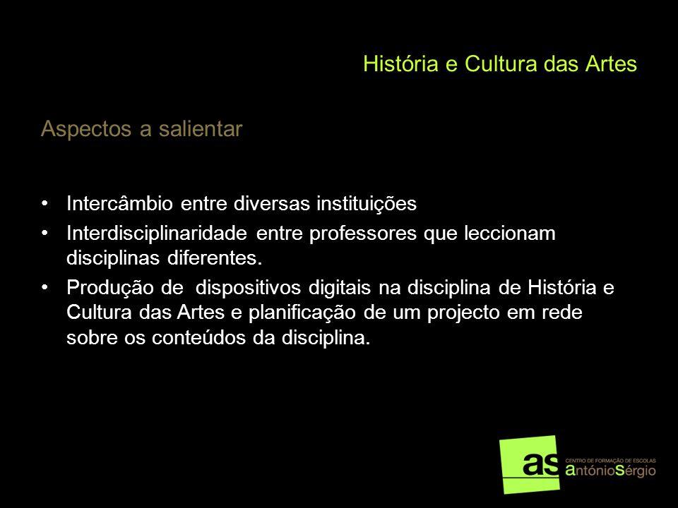 História e Cultura das Artes Aspectos a salientar Intercâmbio entre diversas instituições Interdisciplinaridade entre professores que leccionam discip