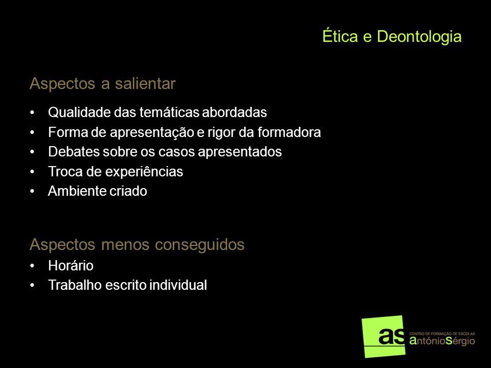 Ética e Deontologia Aspectos a salientar Qualidade das temáticas abordadas Forma de apresentação e rigor da formadora Debates sobre os casos apresenta