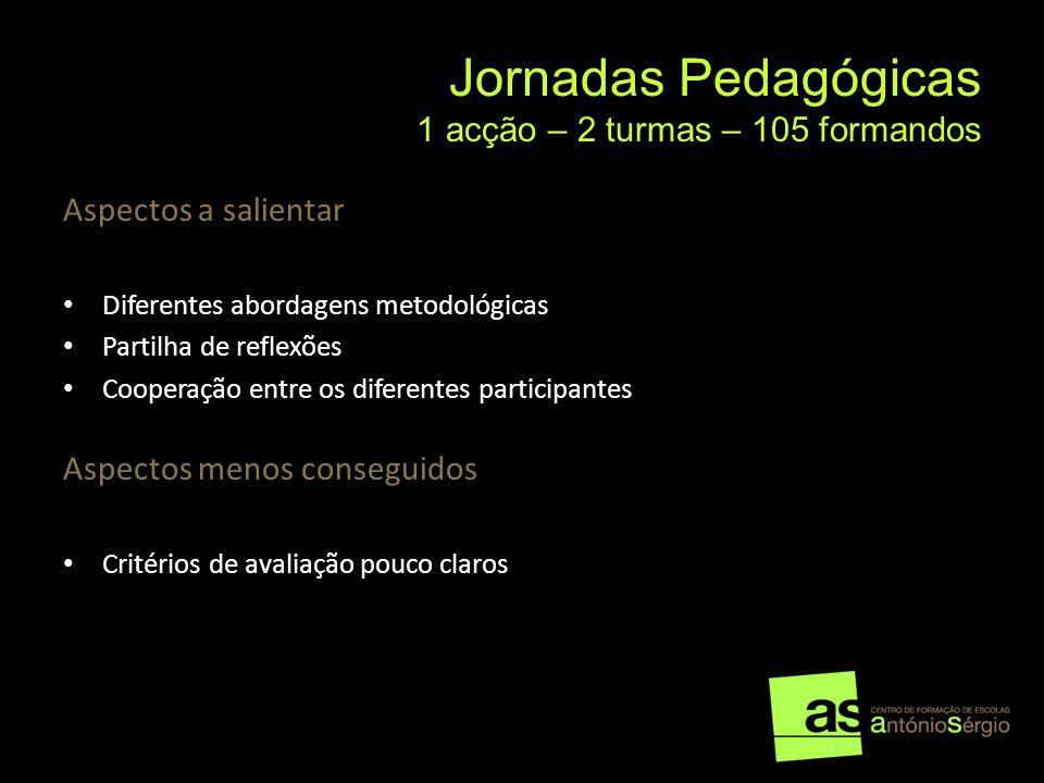 Jornadas Pedagógicas 1 acção – 2 turmas – 105 formandos Aspectos a salientar Diferentes abordagens metodológicas Partilha de reflexões Cooperação entr
