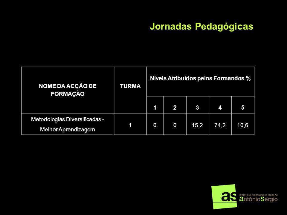 NOME DA ACÇÃO DE FORMAÇÃO TURMA Níveis Atribuídos pelos Formandos % 12345 Metodologias Diversificadas - Melhor Aprendizagem 10015,274,210,6 Jornadas P