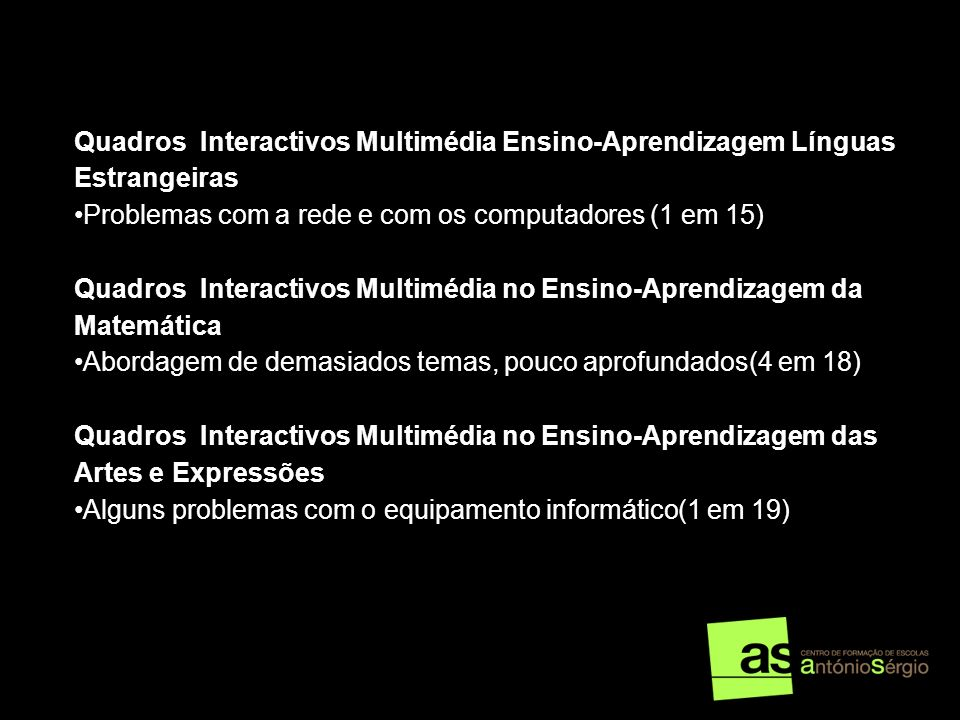 Quadros Interactivos Multimédia Ensino-Aprendizagem Línguas Estrangeiras Problemas com a rede e com os computadores (1 em 15) Quadros Interactivos Mul