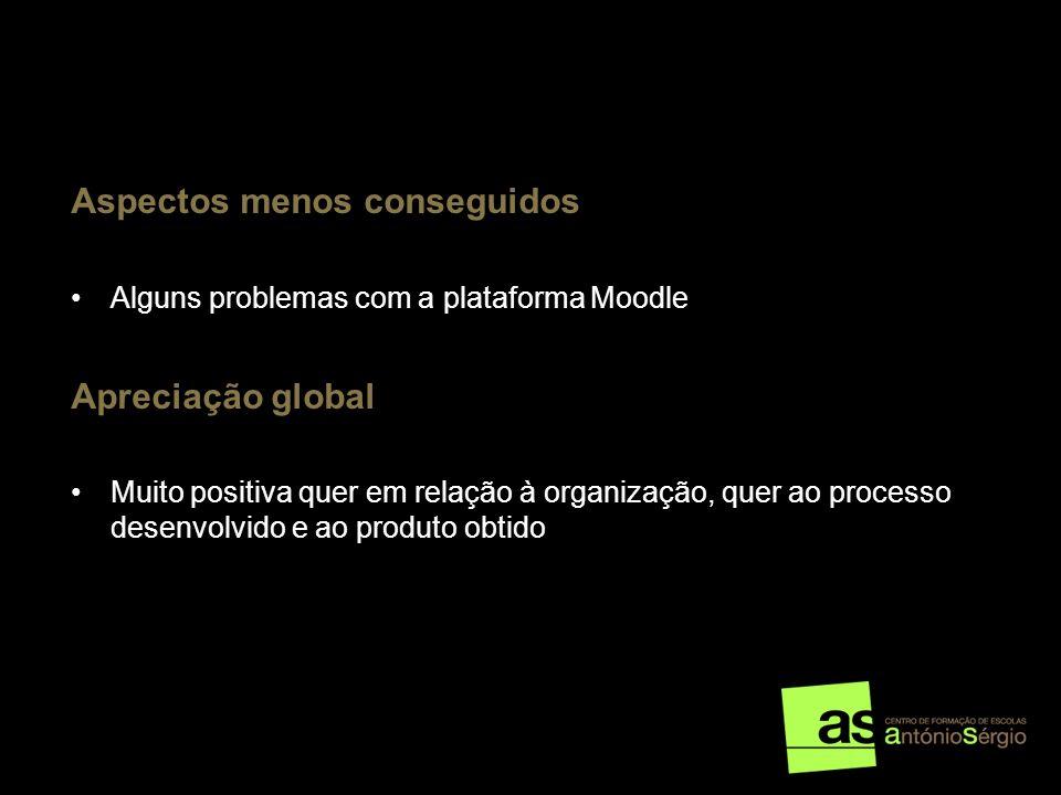 Aspectos menos conseguidos Alguns problemas com a plataforma Moodle Apreciação global Muito positiva quer em relação à organização, quer ao processo d