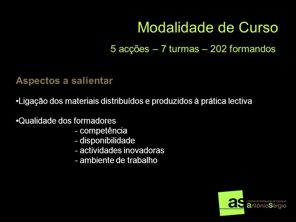 Modalidade de Curso 5 acções – 7 turmas – 202 formandos Aspectos a salientar Ligação dos materiais distribuídos e produzidos à prática lectiva Qualida