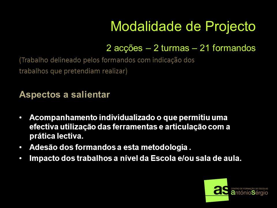 Modalidade de Projecto 2 acções – 2 turmas – 21 formandos (Trabalho delineado pelos formandos com indicação dos trabalhos que pretendiam realizar) Asp