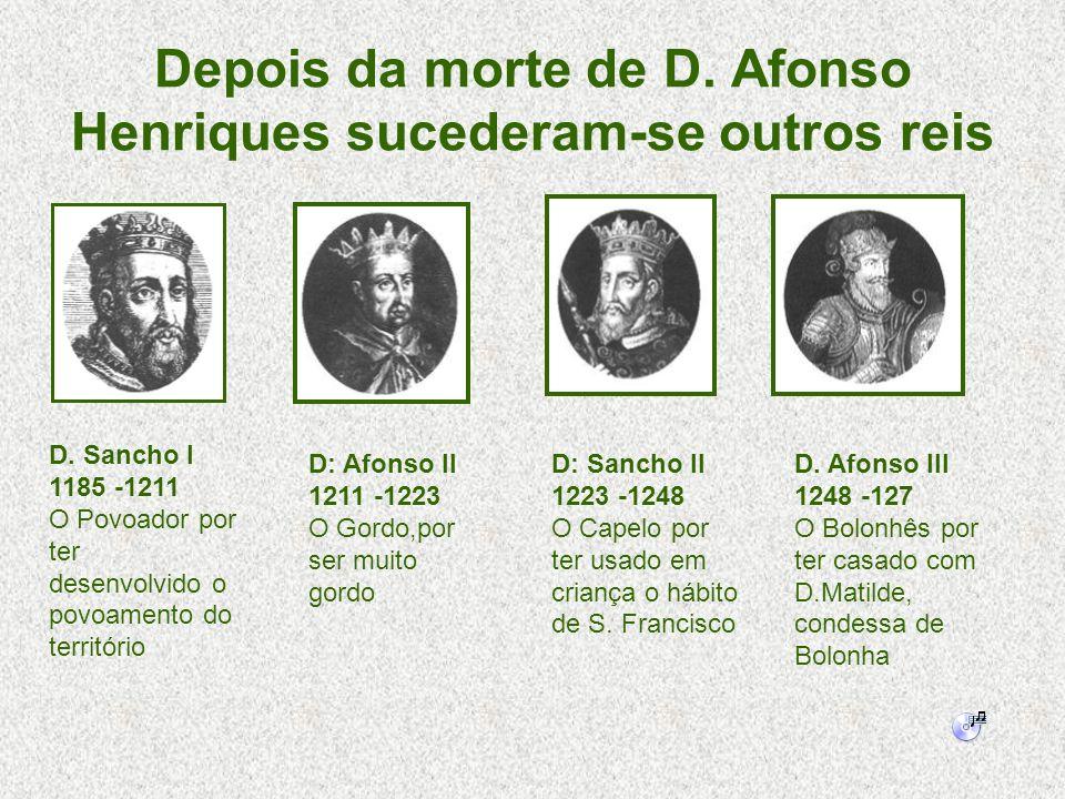 Depois da morte de D. Afonso Henriques sucederam-se outros reis D: Afonso II 1211 -1223 O Gordo,por ser muito gordo D. Sancho I 1185 -1211 O Povoador