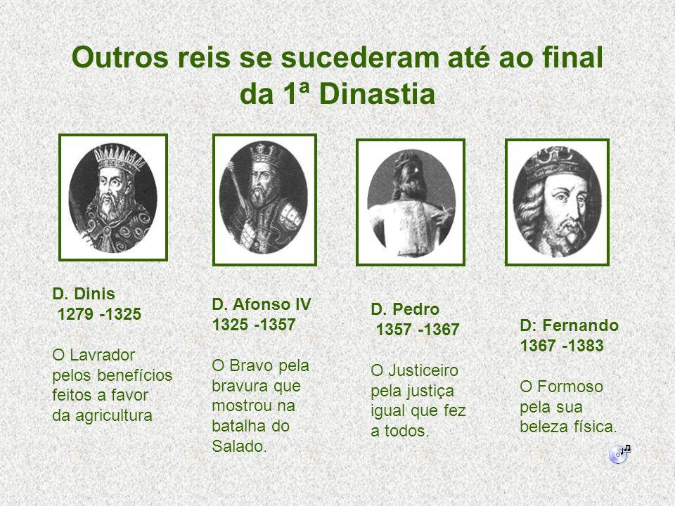 D. Dinis 1279 -1325 O Lavrador pelos benefícios feitos a favor da agricultura D. Afonso IV 1325 -1357 O Bravo pela bravura que mostrou na batalha do S