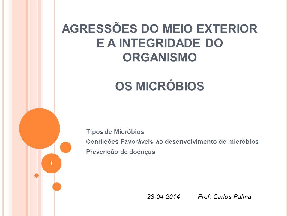 AGRESSÕES DO MEIO EXTERIOR E A INTEGRIDADE DO ORGANISMO OS MICRÓBIOS Tipos de Micróbios Condições Favoráveis ao desenvolvimento de micróbios Prevenção