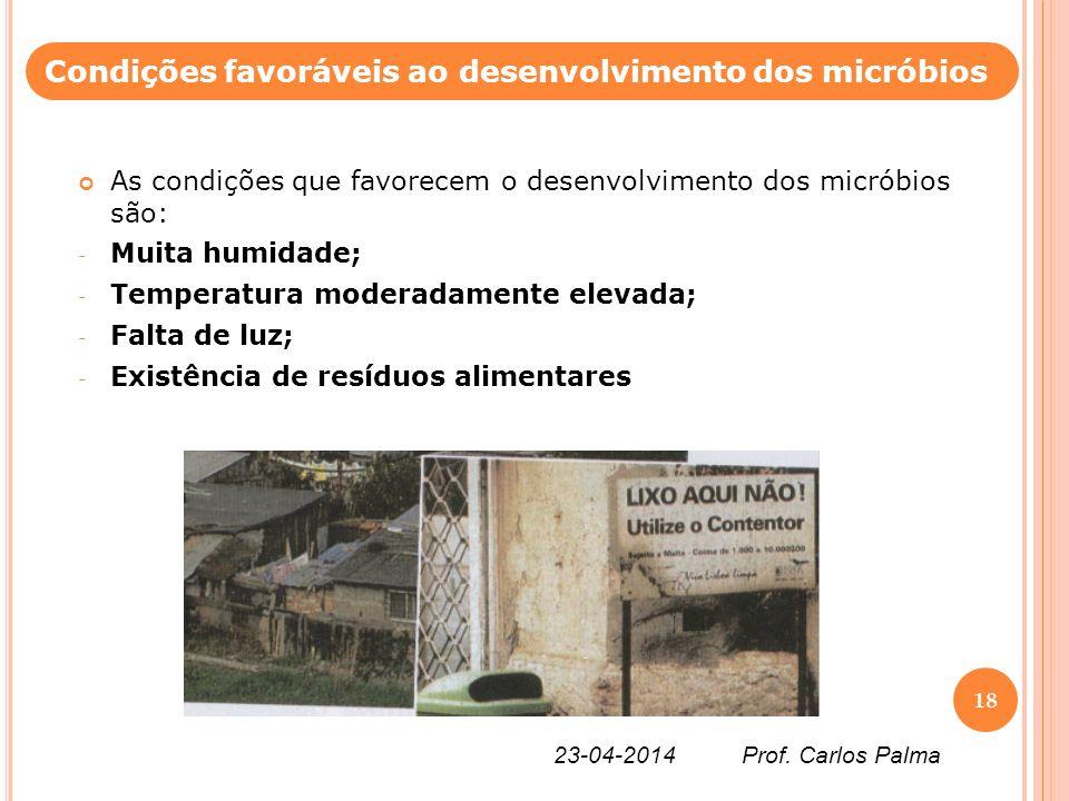 As condições que favorecem o desenvolvimento dos micróbios são: - Muita humidade; - Temperatura moderadamente elevada; - Falta de luz; - Existência de