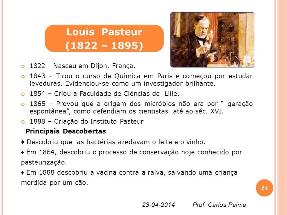 1822 - Nasceu em Dijon, França. 1843 – Tirou o curso de Química em Paris e começou por estudar leveduras. Evidenciou-se como um investigador brilhante