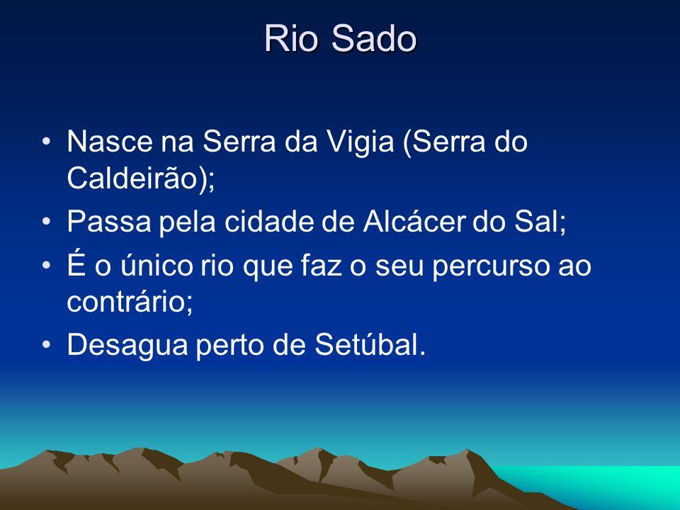 Rio Sado Nasce na Serra da Vigia (Serra do Caldeirão); Passa pela cidade de Alcácer do Sal; É o único rio que faz o seu percurso ao contrário; Desagua