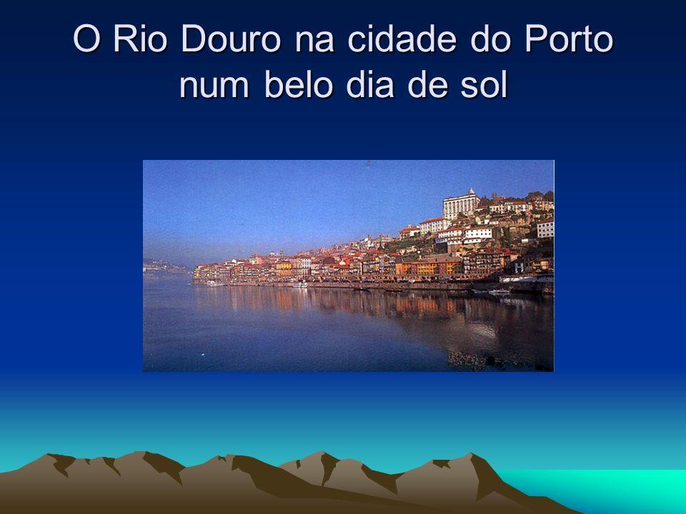 O Rio Douro na cidade do Porto ao anoitecer.