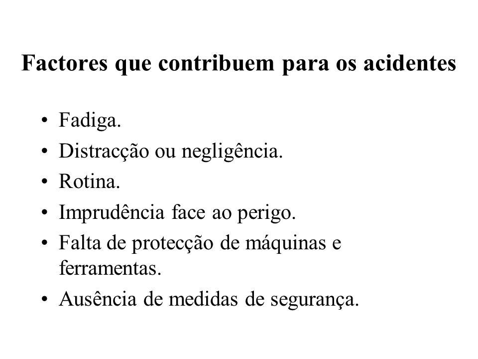 Factores que contribuem para os acidentes Fadiga. Distracção ou negligência. Rotina. Imprudência face ao perigo. Falta de protecção de máquinas e ferr
