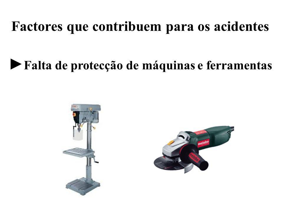 Factores que contribuem para os acidentes Falta de protecção de máquinas e ferramentas