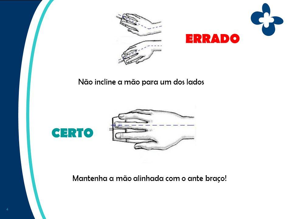 5 Quando trabalha com o teclado, procure manter as mãos alinhadas com o ante braço ERRADO CERTO