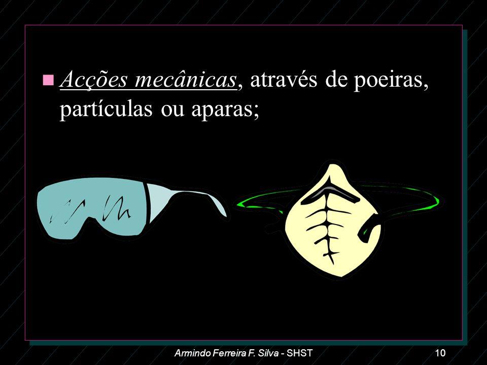 Armindo Ferreira F. Silva - SHST10 n Acções mecânicas, através de poeiras, partículas ou aparas;
