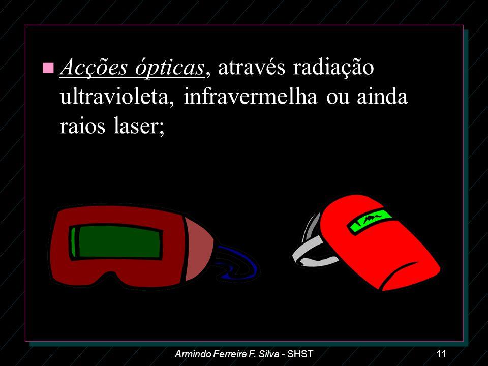 Armindo Ferreira F. Silva - SHST11 n Acções ópticas, através radiação ultravioleta, infravermelha ou ainda raios laser;