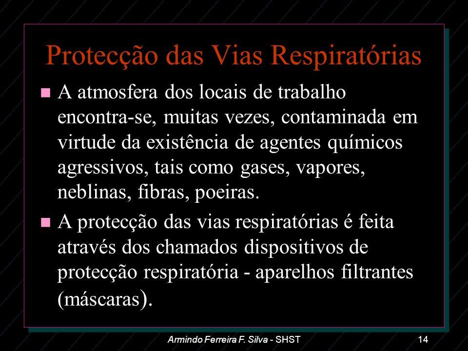 Armindo Ferreira F. Silva - SHST14 Protecção das Vias Respiratórias n A atmosfera dos locais de trabalho encontra-se, muitas vezes, contaminada em vir