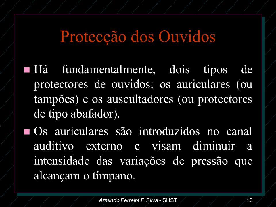 Armindo Ferreira F. Silva - SHST16 Protecção dos Ouvidos n Há fundamentalmente, dois tipos de protectores de ouvidos: os auriculares (ou tampões) e os
