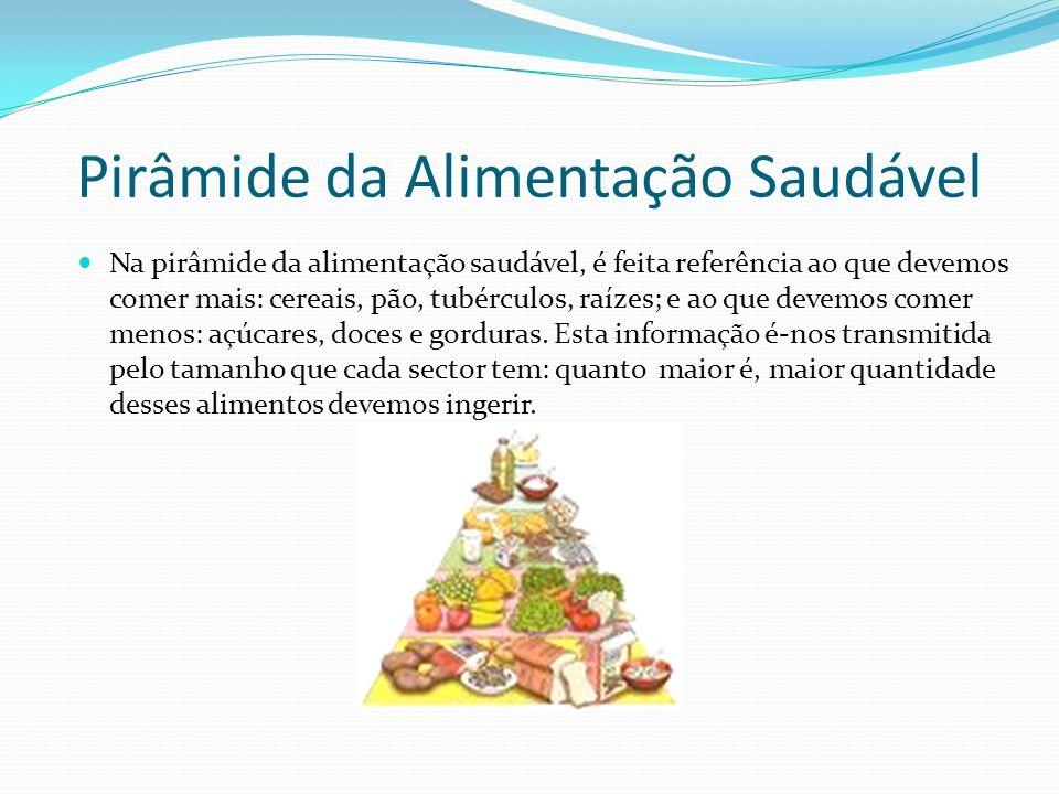 Pirâmide da Alimentação Saudável Na pirâmide da alimentação saudável, é feita referência ao que devemos comer mais: cereais, pão, tubérculos, raízes;