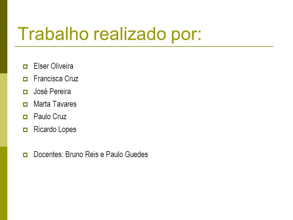 Trabalho realizado por: Elser Oliveira Francisca Cruz José Pereira Marta Tavares Paulo Cruz Ricardo Lopes Docentes: Bruno Reis e Paulo Guedes